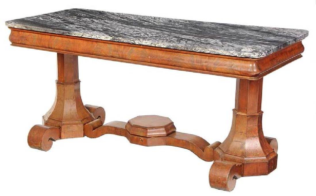 American Classical Mahogany Marble Top Table