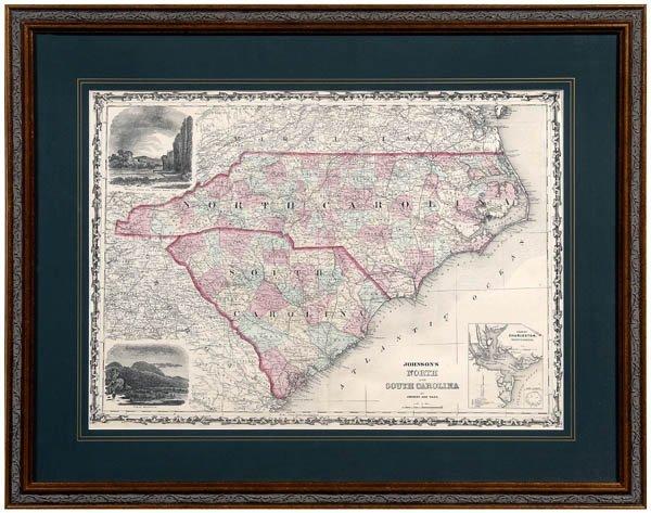 3: Map, Johnson's North & South Carolina,