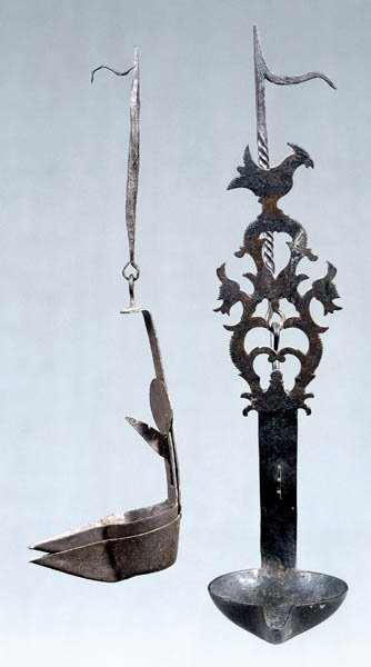 7: Two wrought iron hanging lamps: