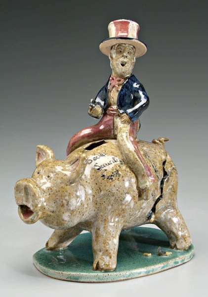 10: Crystal King pottery pig bank,