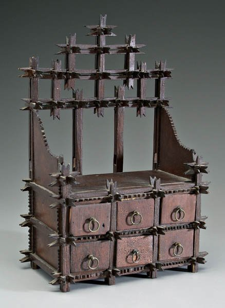 20: Miniature tramp art dresser,