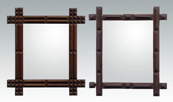 22: Two tramp art mirror frames: