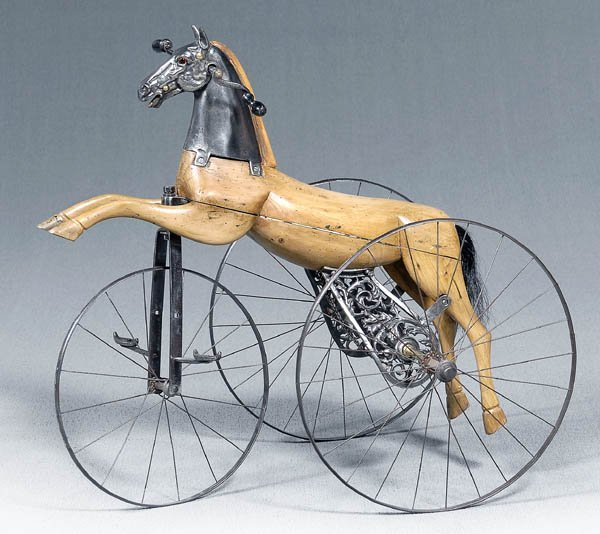 659: Fine French steel and wood velocipede,