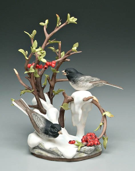 736: Boehm porcelain bird group,