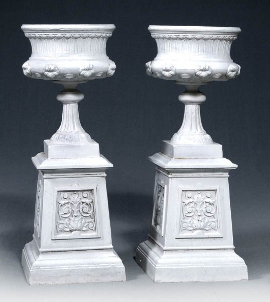 749: Pair painted cast metal planters: