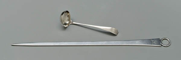 755: Bateman English silver skewer, ladle: