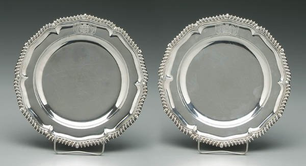 756: Pair George IV English silver plates: