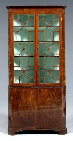 758: Hepplewhite inlaid corner cupboard,