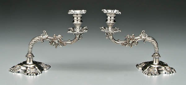 1045: Old Sheffield piano candlesticks: