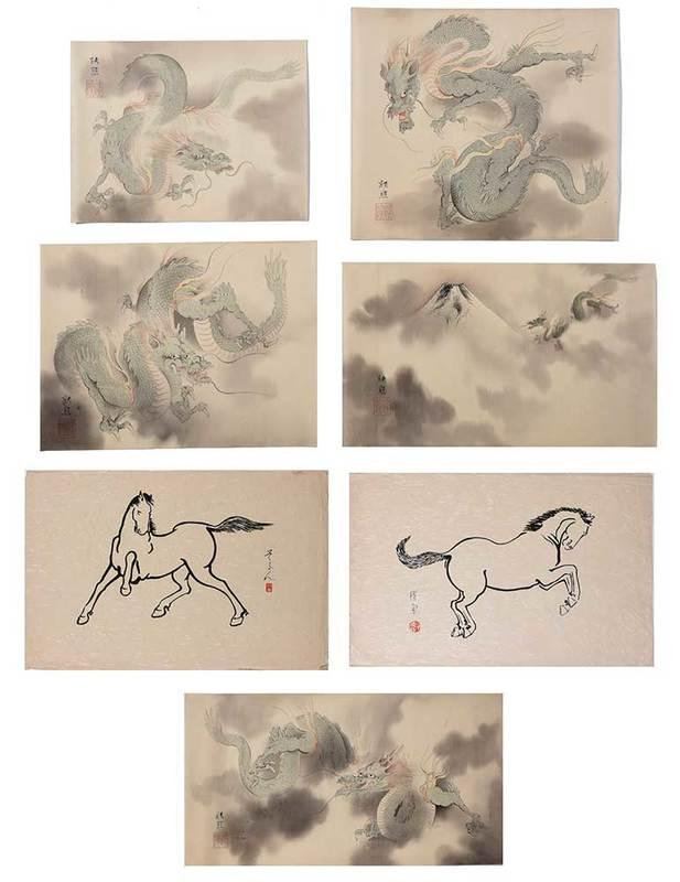 Seven Japanese Prints of Dragons and Horses