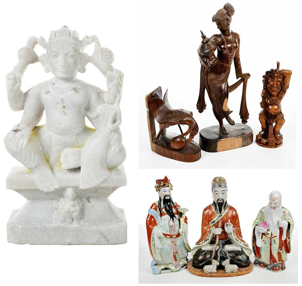Three Chinese Porcelain Immortal Figures