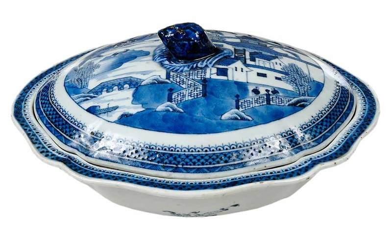 Canton Blue and White Covered Tureen