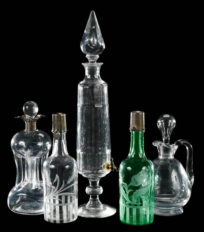 Five Cut Glass Era Barware Items