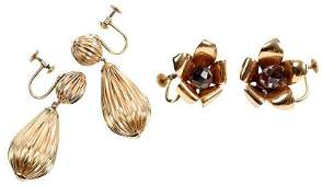 Two Pairs 14kt Earclips