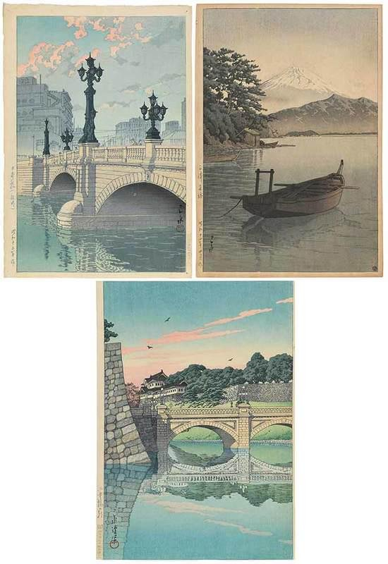 Kawase Hasui, Three Woodblock Prints, Unframed