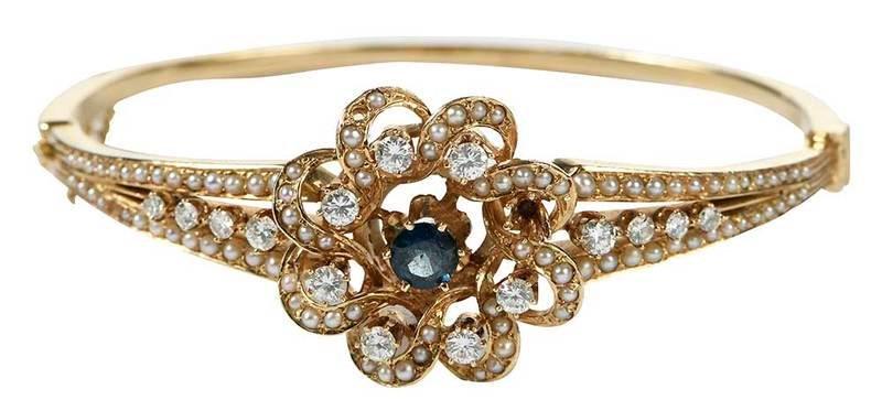 14kt. Diamond, Pearl and Sapphire Bracelet