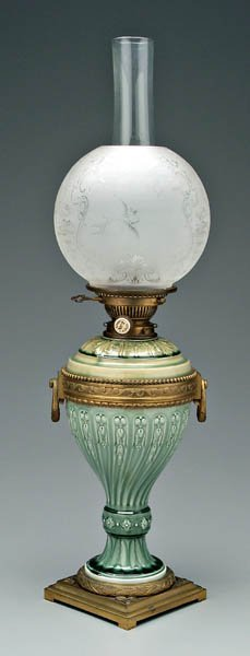 12: Theodore Deck faience lamp,