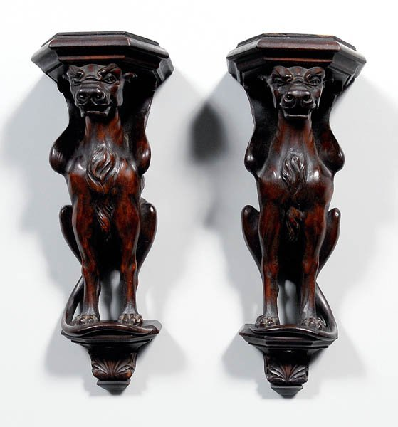17: Pair carved griffin brackets: