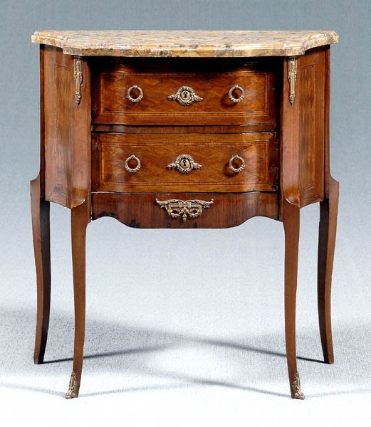 20: Louis XV style marble top commode,