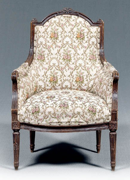 24: Louis XVI carved fruitwood bergere,