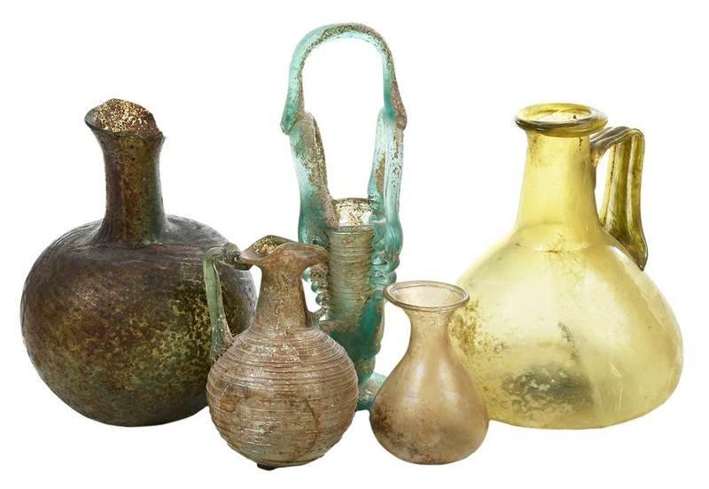 Five Roman Iridescent Glass Bottles
