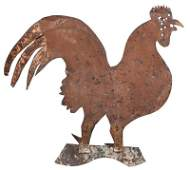 American Folk Art Sheet Iron Rooster Weathervane