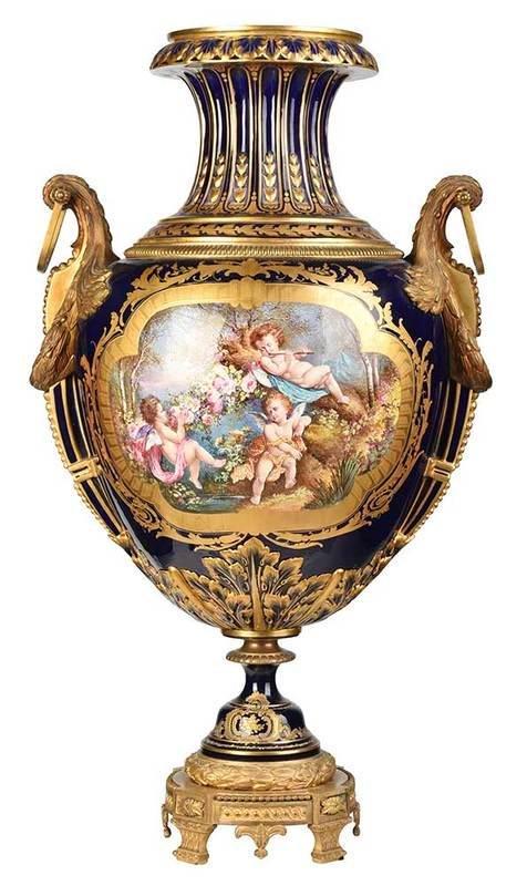 Finely Hand Painted Sevres Porcelain Urn