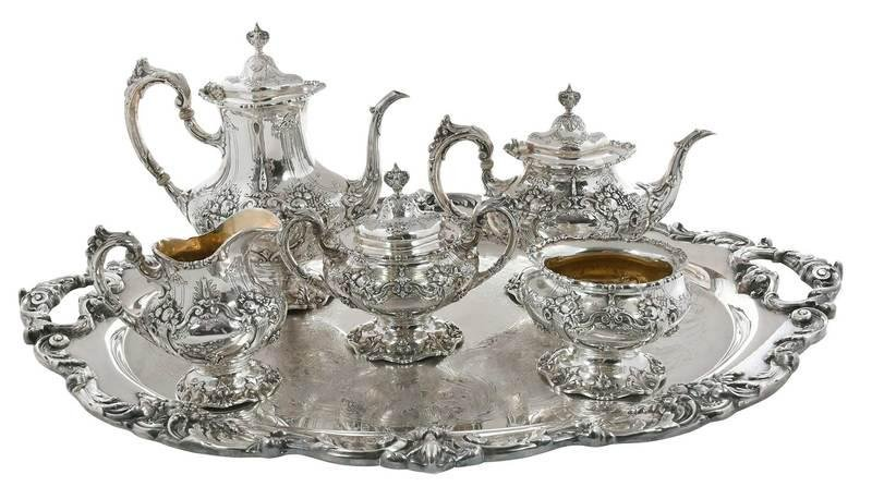 Francis I Sterling Tea Set; Silver Plate Tray