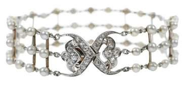 Antique Platinum 14kt Diamond  Pearl Bracelet