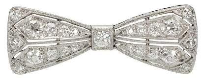Antique Platinum and Diamond Bow Brooch