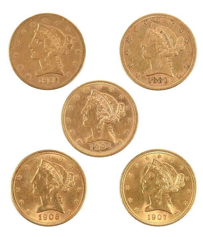 Group of Twenty, Five Dollar Gold Coins