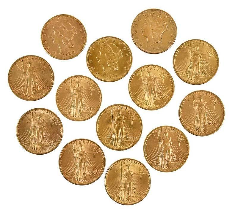 13 Twentieth Century Gold Double Eagle Coins