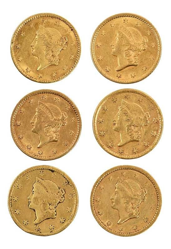 Six U.S. Gold Dollar Coins