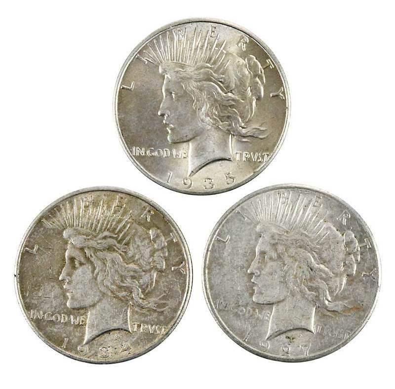 100 Original Peace Dollars in Bank Bag