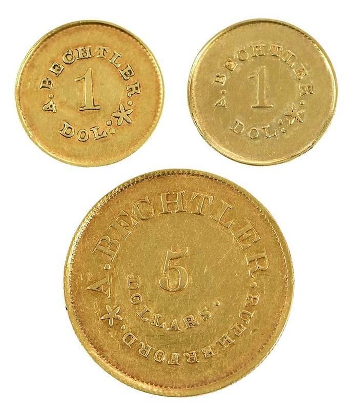 Three August Bechtler Coins