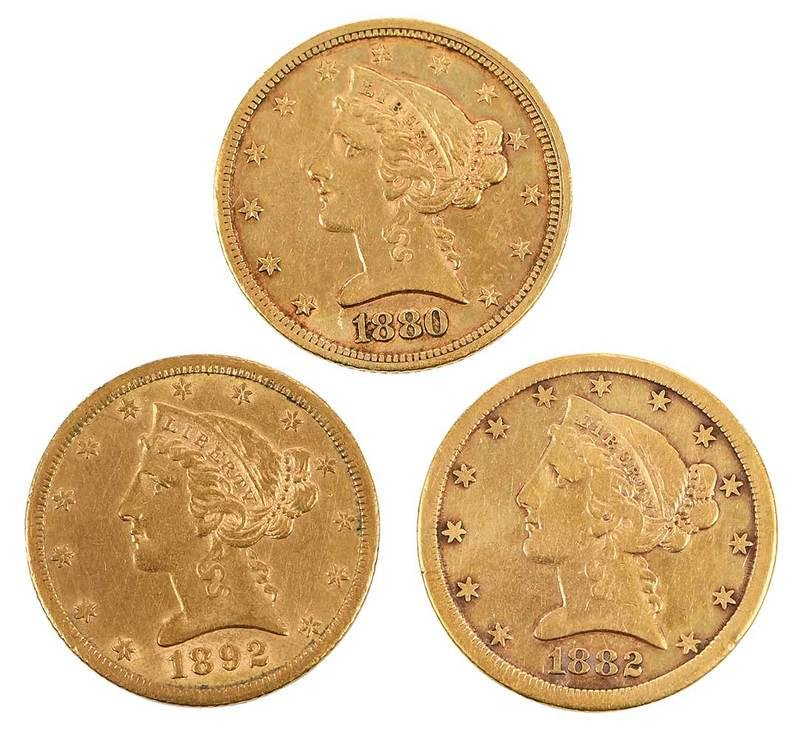 Three Carson City Mint Five Dollar Gold Coins