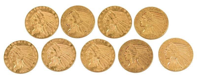 Group of Nine Gold Half Eagles