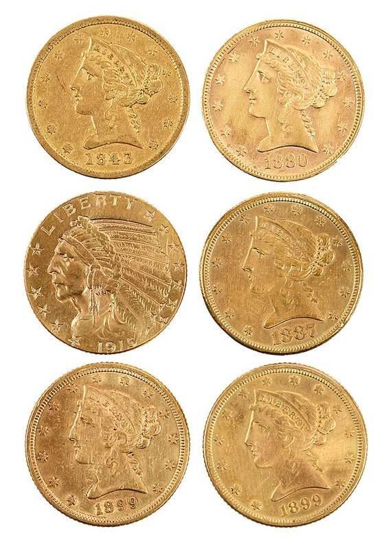 Six Gold Half Eagles