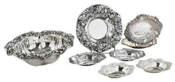 Eight Sterling Floral Bowls