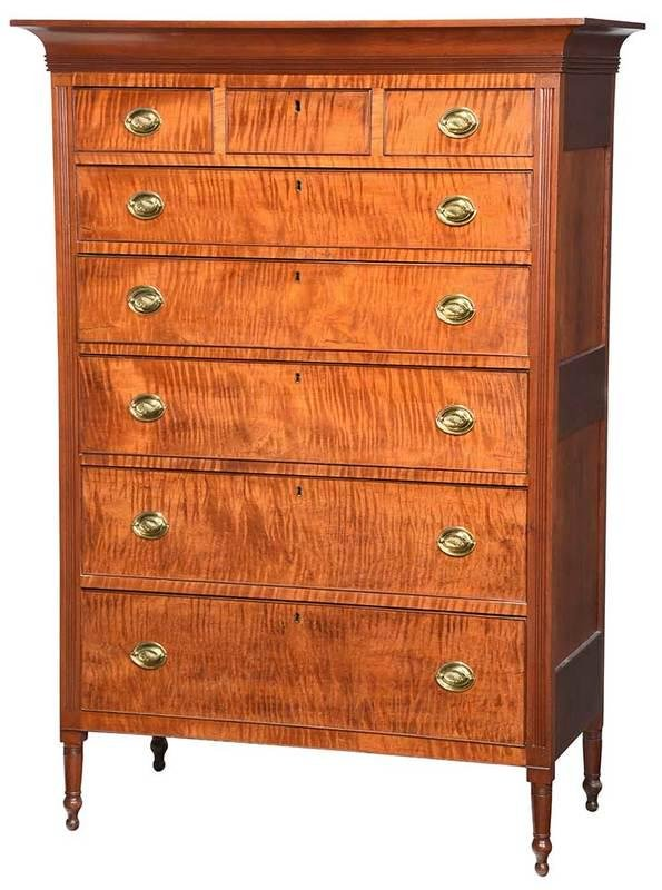 American Federal Tiger Maple Tall Chest
