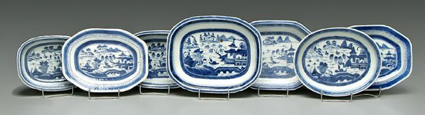 1: Seven Chinese Canton serving pieces: