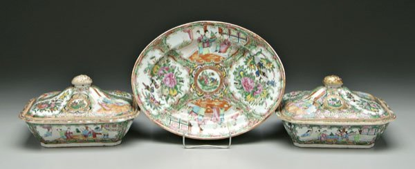9: Three pieces [famille rose] porcelain,