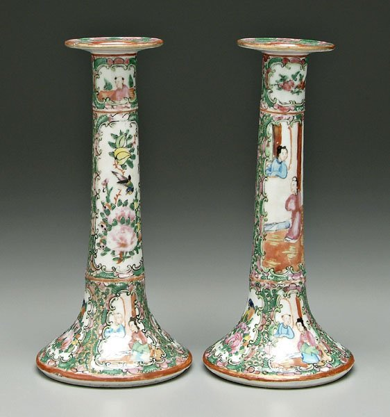 12: Pair [famille rose] candlesticks: