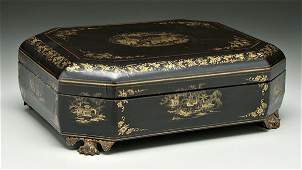 312: Chinese export black lacquer game box,