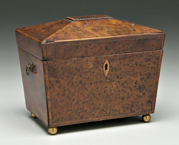 630: Burlwood tea caddy,