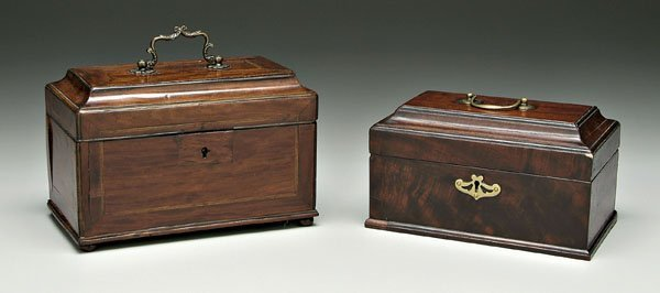 634: Two Georgian mahogany tea boxes,