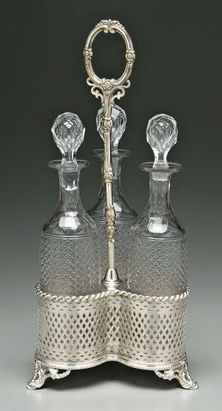 645: Cut glass decanter set: