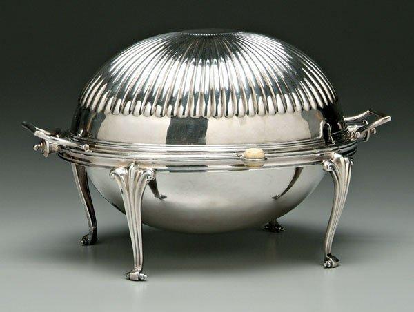 654: Silver plated revolving server,