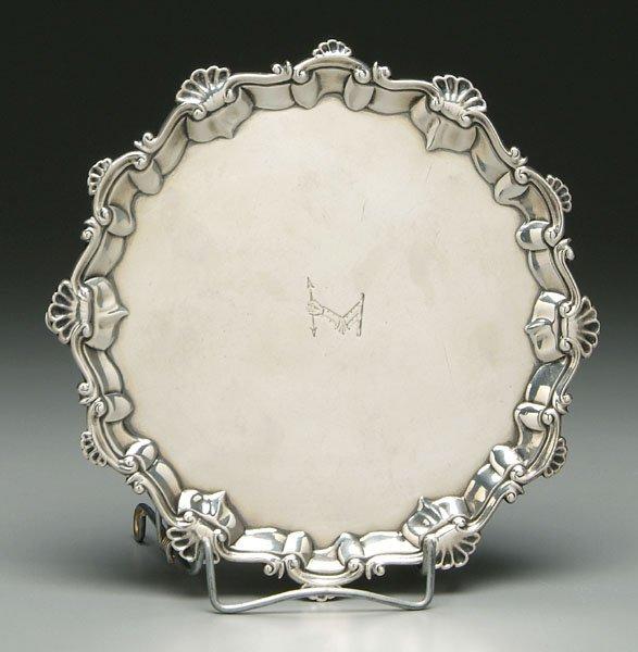 655: George III English silver salver,