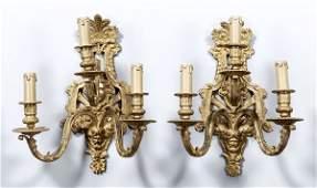 724 Pair bronze Louis XV style sconces